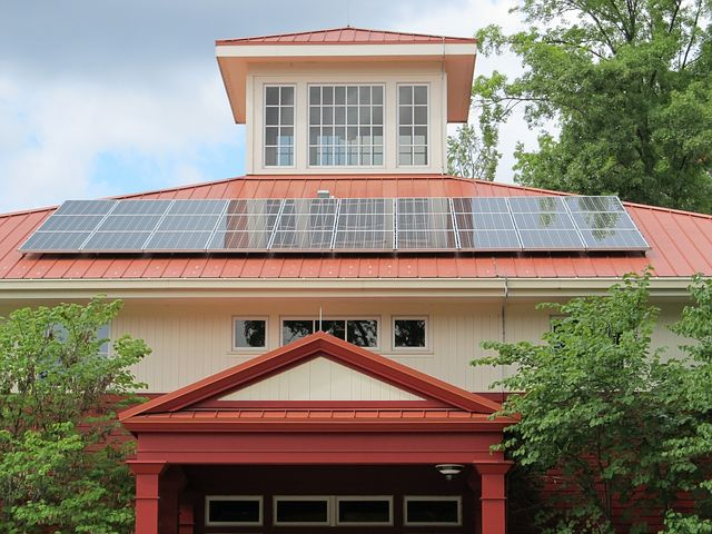 solar panels in the roof
